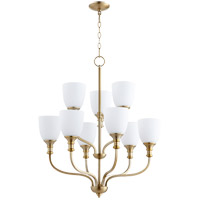 Quorum 6811-9-80 Richmond 9 Light 26 inch Aged Brass Chandelier Ceiling Light