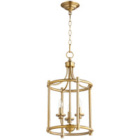 Quorum 6822-3-80 Rossington 3 Light 12 inch Aged Brass Foyer Pendant Ceiling Light