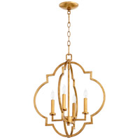 Quorum 6842-4-74 Dublin 4 Light 18 inch Gold Leaf Foyer Pendant Ceiling Light, Quorum Home
