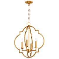 Quorum 6842-4-74 Dublin 4 Light 18 inch Gold Leaf Foyer Pendant Ceiling Light Quorum Home