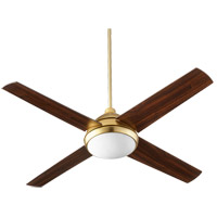 Quest 52 inch Aged Brass with Walnut Blades Indoor Ceiling Fan