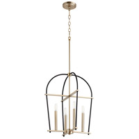 Quorum 687-4-6980 Espy 4 Light 17 inch Noir and Aged Brass Mini Chandelier Ceiling Light