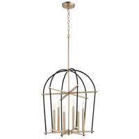 Quorum 687-6-6980 Espy 6 Light 3 inch Noir and Aged Brass Entry Pendant Ceiling Light