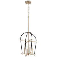 Quorum 687-6980 Espy 4 Light 14 inch Noir and Aged Brass Mini Chandelier Ceiling Light