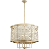 Quorum 6875-6-60 Bastille 6 Light 28 inch Aged Silver Leaf Pendant Ceiling Light
