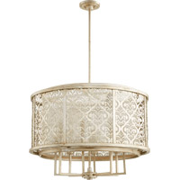 Quorum 6875-8-60 Bastille 8 Light 31 inch Aged Silver Leaf Pendant Ceiling Light