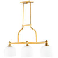 Quorum 6911-3-80 Richmond 3 Light 38 inch Aged Brass Island Light Ceiling Light