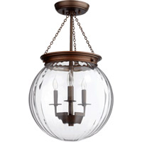 Quorum 6920-3-86 Signature 3 Light 13 inch Oiled Bronze with Clear Pendant Ceiling Light