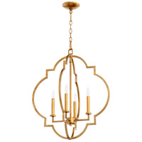 Quorum 6942-4-74 Dublin 4 Light 22 inch Gold Leaf Foyer Pendant Ceiling Light, Quorum Home