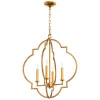Quorum 6942-4-74 Dublin 4 Light 22 inch Gold Leaf Foyer Pendant Ceiling Light Quorum Home