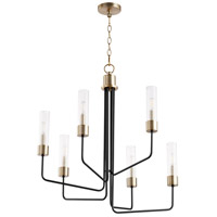 Quorum 695-6-6980 Helix 6 Light 28 inch Noir with Aged Brass Chandelier Ceiling Light