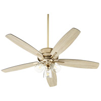 Quorum 7052-380 Breeze 52 inch Aged Brass with Matte Black and Weathered Oak Blades Ceiling Fan Quorum Home