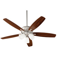 Quorum 70525-365 Breeze 52 inch Satin Nickel with Satin Nickel/Walnut Blades Indoor Ceiling Fan
