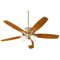 Quorum 70525-380 Breeze 52 inch Aged Brass with Dark Oak/Walnut Blades Indoor Ceiling Fan in 3