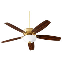 Quorum 70525-80 Breeze 52 inch Aged Brass with Dark Oak/Walnut Blades Indoor Ceiling Fan