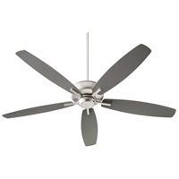 Quorum 7060-65 Breeze 60 inch Satin Nickel with Silver/Walnut Blades Ceiling Fan