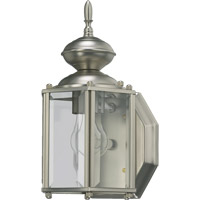 Quorum International Lantern 1 Light Outdoor Wall Lantern in Satin Nickel 709-65