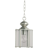 Quorum International Lantern 1 Light Outdoor Hanging Lantern in Satin Nickel 711-65