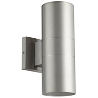 Quorum 720-2-16 Cylinder 2 Light 12 inch Brushed Aluminum Outdoor Wall Mount