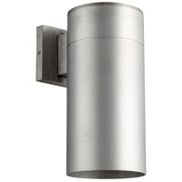 Quorum 721-16 Cylinder 1 Light 12 inch Brushed Aluminum Outdoor Wall Mount