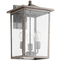 Quorum 722-11-37 Riverside 3 Light 18 inch Weathered Zinc Outdoor Wall Mount