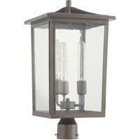 Quorum 724-11-37 Riverside 3 Light 22 inch Weathered Zinc Outdoor Post Lantern