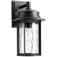 Quorum 7246-7-69 Charter 14 inch Noir Outdoor Wall Lantern, Clear Hammered