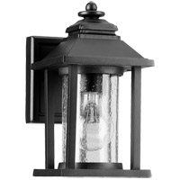 Crusoe 9 inch Noir Outdoor Wall Lantern, Clear Seeded
