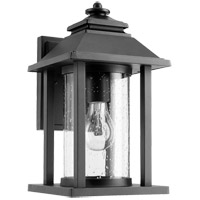 Quorum 7271-69 Crusoe 12 inch Noir Outdoor Wall Lantern, Clear Seeded