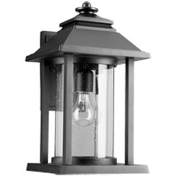 Quorum 7272-69 Crusoe 16 inch Noir Outdoor Wall Lantern, Clear Seeded