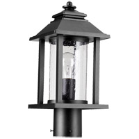 Crusoe 16 inch Noir Post Lantern, Clear Seeded