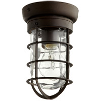 Quorum 7282-86 Bowery 1 Light 5 inch Oiled Bronze Flush Mount Ceiling Light