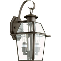 Duvall 2 Light 14 inch Bronze Outdoor Wall Lantern in Clear