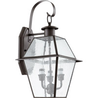 Duvall 3 Light 18 inch Bronze Outdoor Wall Mount in Clear Seeded