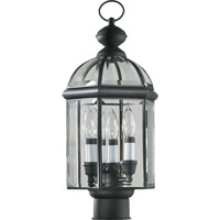 Quorum International Wellsley 3 Light Post Lantern in Gloss Black 734-3-15