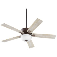 Quorum 73525-9186 Rothman 52 inch Oiled Bronze with Reversible Walnut and Weathered Oak Blades Indoor Ceiling Fan, Satin Opal