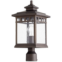 Denmark 19 inch Oiled Bronze Post Lantern, Clear Water Glass