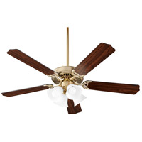 Quorum 7525-080 Capri IX 52 inch Aged Brass with Matte Black and Walnut Blades Ceiling Fan
