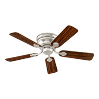 Quorum 75445-65 Barclay 44 inch Satin Nickel with Reversible Satin Nickel and Walnut Blades Hugger Ceiling Fan