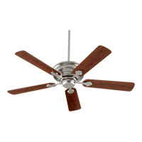 Quorum 76525-65 Barclay 52 inch Satin Nickel with Vintage Walnut Blades Ceiling Fan