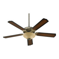 Quorum International Capri III 2 Light Ceiling Fan (Blades Not Included) in Antique Flemish 77520-9422