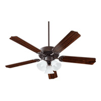 Quorum 77525-1644 Capri Vi 52 inch Toasted Sienna with Toasted Sienna and Walnut Blades Ceiling Fan in Faux Alabaster, 3, Candelabra