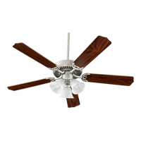Quorum 77525-1665 Capri VI 52 inch Satin Nickel Ceiling Fan in Faux Alabaster, 4, Medium