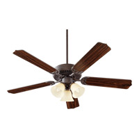 Quorum 77525-1744 Capri VI 52 inch Toasted Sienna Ceiling Fan in Amber Scavo, 4, GU24