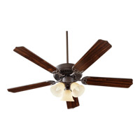 Quorum 77525-1786 Capri Vi 52 inch Oiled Bronze with Oiled Bronze and Walnut Blades Ceiling Fan in Amber Scavo, 3, Candelabra