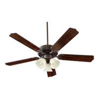Quorum 77525-1886 Capri Vi 52 inch Oiled Bronze with Oiled Bronze and Walnut Blades Ceiling Fan in Linen, 3, Candelabra
