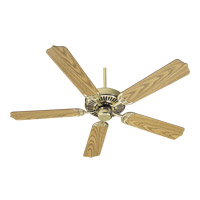 Capri I 52 inch Polished Brass with Medium Oak Blades Ceiling Fan in Mystic Silver, Amber Scavo, Candelabra