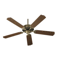 Quorum 77525-4 Capri I 52 inch Antique Brass with Medium Oak Blades Ceiling Fan in Light Kit Not Included