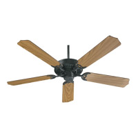Quorum 77525-59 Capri I 52 inch Matte Black with Medium Oak Blades Ceiling Fan in Polished Brass, Faux Alabaster, 4