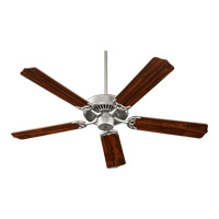 Capri I 52 inch Satin Nickel Ceiling Fan in Satin Nickel and Walnut, Faux Alabaster, 4, GU24
